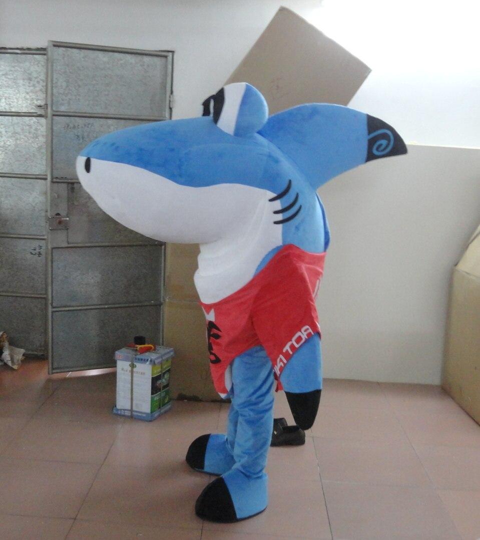 Модные дышащие женские хлопковые голубые джинсы с изображением акулы костюм для взрослых мультфильм костюм акулы талисмана с плюшевой под... - 2