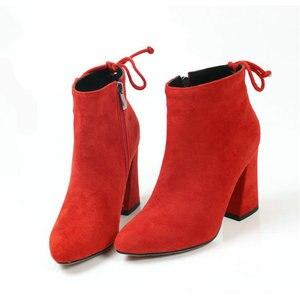 Image 5 - ESVEVA 2020 נשים מגפי פלוק קרסול מגפי בוהן עגול חורף נעלי כיכר עקבים גבירותיי מערבי מסיבת זמש סתיו מגפי גודל 34 43
