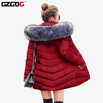 Artificial Raccoon Hair Collar Padded Lining Winter Coat