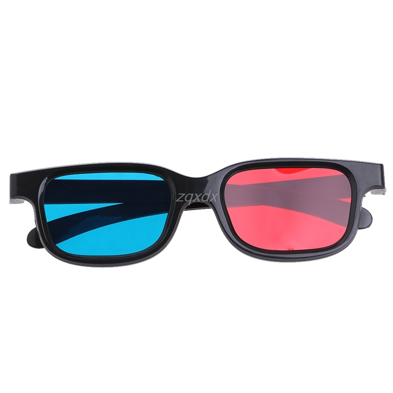 Fashion Universal Black Frame Red Blue Cyan Anaglyph 3D Glasses 0.2mm For Movie Game DVD Whosale&Dropship