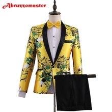 Мужской костюм с животным принтом, желтый смокинг для жениха, шаль с отворотом, костюм жениха на заказ, свадебный костюм(пиджак+ брюки