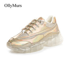 24388f28e7 Brilho Sapatos casuais Mulheres Chunky Plataforma Sneakers chaussures femme  zapatos de mujer Senhoras de Couro Reais calçados La.