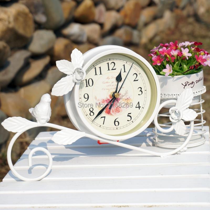Rural Style Metal Bird clock Home Decoration Handwork Garden Table clock With Pen Pot Black White Colour