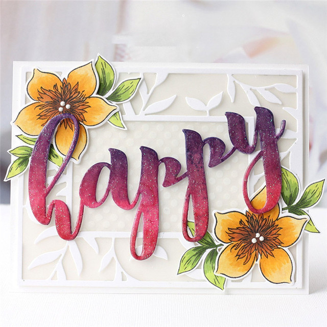 DiyArts Happy Hello Letters Die Cuts Metal Cutting Dies for DIY Scrapbooking Embossing Photo Album Paper Cards Decorative Crafts