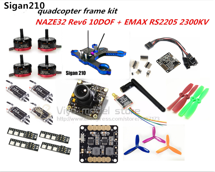 DIY FPV race 210mm Sigan210 mini drone carbon Fiber frame kit NAZE32 REV6 10DOF/CC3D+EMAX RS2205 2300KV+little bee 20A ESC 2-4S rc plane qav zmr250 3k carbon fiber naze 6dof rve6 rs2205 favourite 20a emax