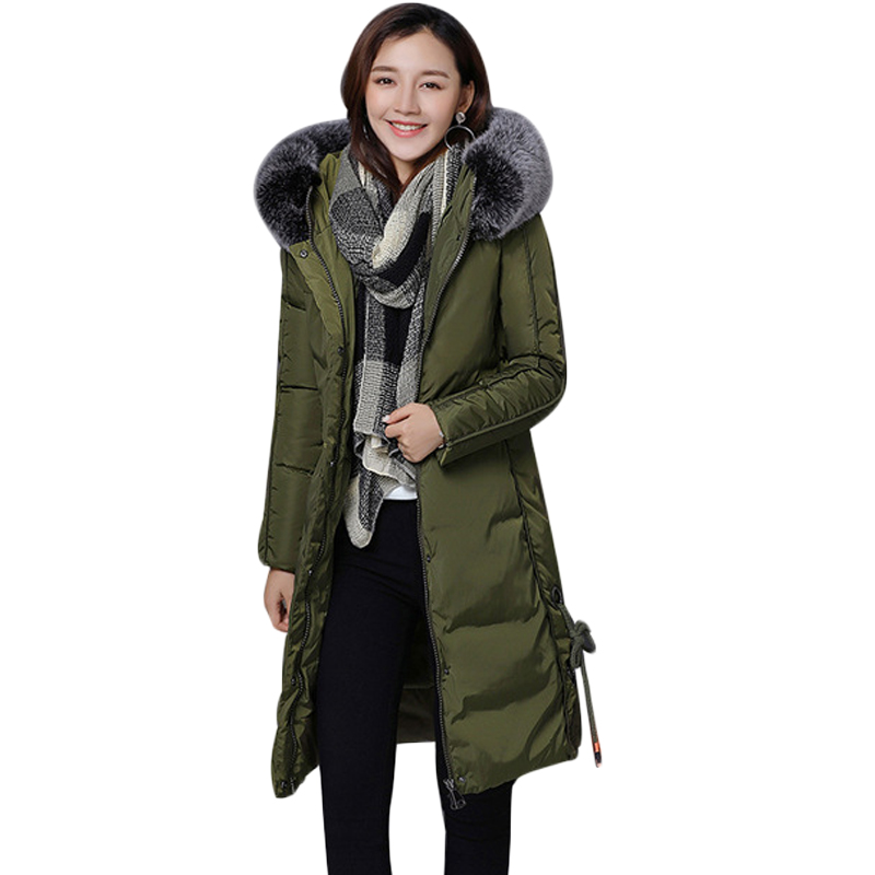 2017 New Style Winter Jacket Women Long Slim Large Fur Hooded Women Thicken Down Cotton Jacket Female Wadded Jacket Coat CM1567 fugoo style jacket