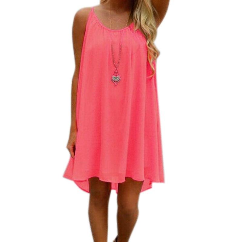 Newly Sexy Women Dress Summer Dress Chiffon Strap Fashion Casual Loose Sleeveless Solid Beach Dresses Plus Size 5XL 2019 DOD886