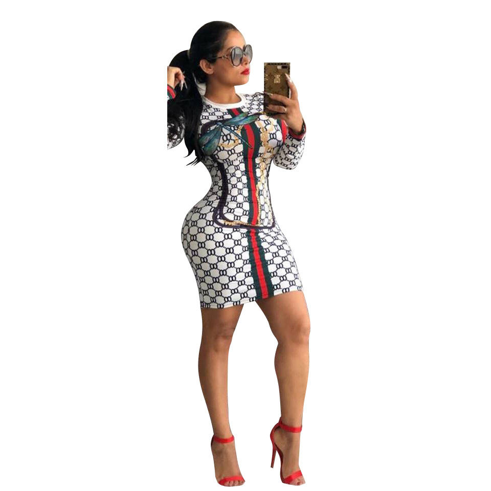 2019 New Sexy Women Dresses Printed Long Sleeve Sheath Bodycon Mini Dresses For Women Clubwear