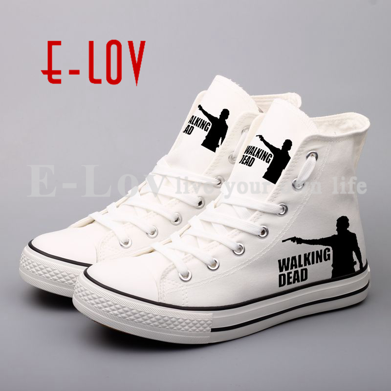 Fashion New 3D Women Graffiti Shoes Print The Walking Dead Funny Unisex Canvas Shoes Plus Size Lace-Up Casual Shoes For Couples худи print bar the walking dead