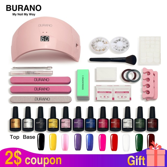Burano Nail Set Led Lamp Dryer 10 Gel Polish Soak Off Manicure