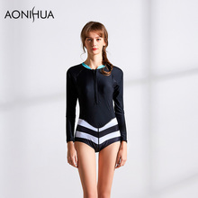 AONIHUA Bikini 2018 Stripe Long Sleeve High Waist One Piece Sexy Women Swimwear