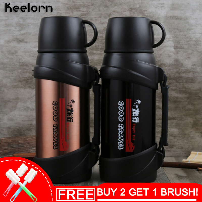 Keelorn 2000ml Stainless Steel Vacuum Flasks Thermoses Cup Double Large Capacity Portable Outdoor Sport Thermal Vacuum