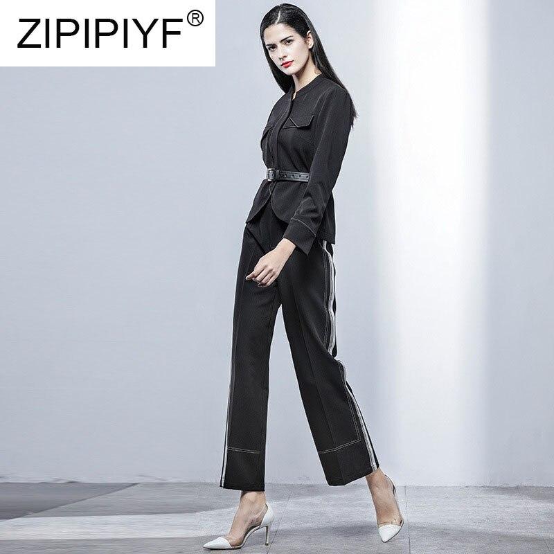 Manches K698 Printemps À 2019 Ensembles Large Longues Taille Femme Élégante Pièces Mode Costumes Jambe Blouse Pantalon Deux Noir Bureau Haute Dame H8C8wqdx