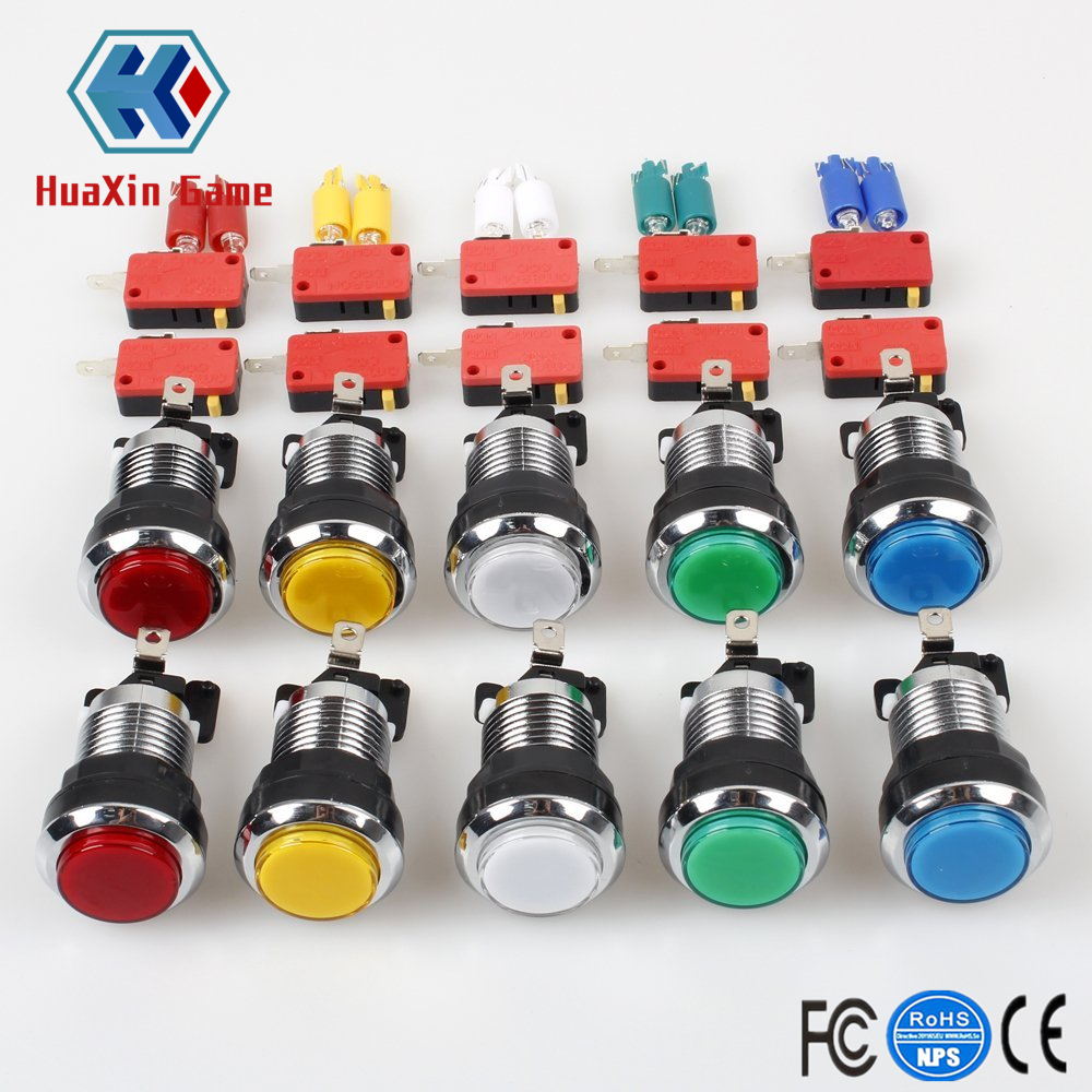10 Pcs/lots Chrome Plating 5V/12V 30mm LED Illuminated Push Buttons With Micro Switch For Arcade Machine Games Mame Jamma Parts