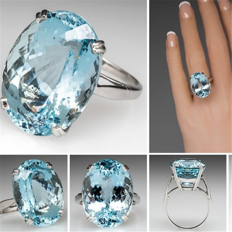CC Rings For Women Trendy Jewelry Oval Cubic Zirconia Big Blue Ring Bridal Wedding Engagement Bijouterie Accessories CC2091