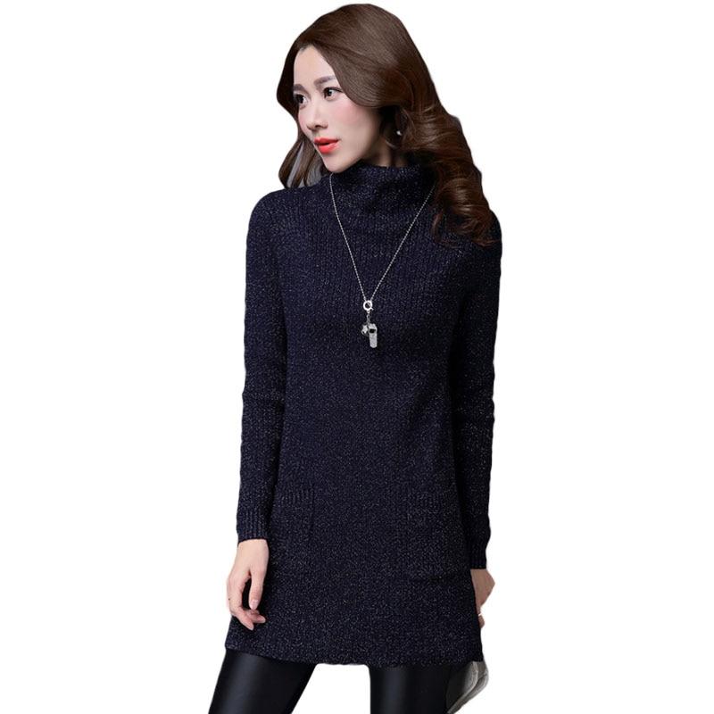 купить 2017 New Autumn Winter Long Sleeve Sweater Lady Large Size Slim Turtleneck Pullovers Split Cashmere Knitted Dress For Women L973 недорого