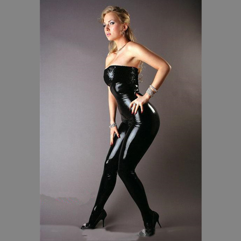 a4c2153229b9 Hot Sexy Black Vinyl Leather Catsuit Strapless Jumpsuit Female PVC Bustier  Clubwear Latex Tight Fit Bodysuit M7139