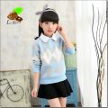 2017 new Spring 4-15Y Wool Long Sleeve Cute Girl Sweater Baby Girl Lotita Tops Child Clothing for Children Fashion Clothes Kids
