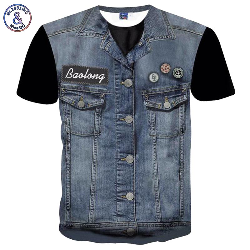 2017 Mr.1991INC Newest Hip Hop T-shirt Men/women Tees Shirts 3d T-shirt Print Fake Jeans Tops Hipster Tshirts Plus 3XL 4XL