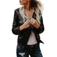 Women Long Sleeve Solid Sequined Irregular Cardigan Tops Cover Up Coat Ropa De Mujer Moda