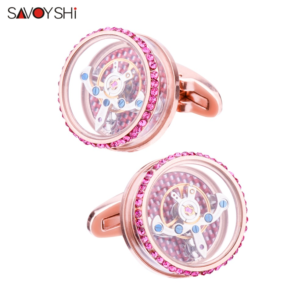 SAVOYSHI Luxury Tourbillon Cufflinks for Mens Shirt Cuff bottons Functional Mechanical Watch Cuff Links Brand Designer Jewelry цены онлайн