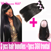 360 Malibu Dollface Recommend Pre Plucked Lace Frontal With Brazilian Virgin Hair Straight 3Pcs Fa Peerless Human Hair 4Pcs/Lot