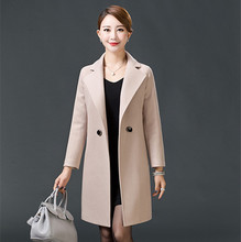 Ms Spring and Autumn Long section Solid color Hairy jacket