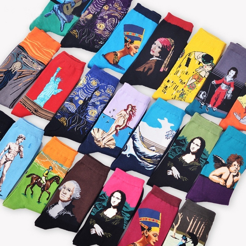 2pairs New Fashion Cotton Socks Unisex Men Women Socks Mona Lisa Fine Art Painting Stockings party small gift 3