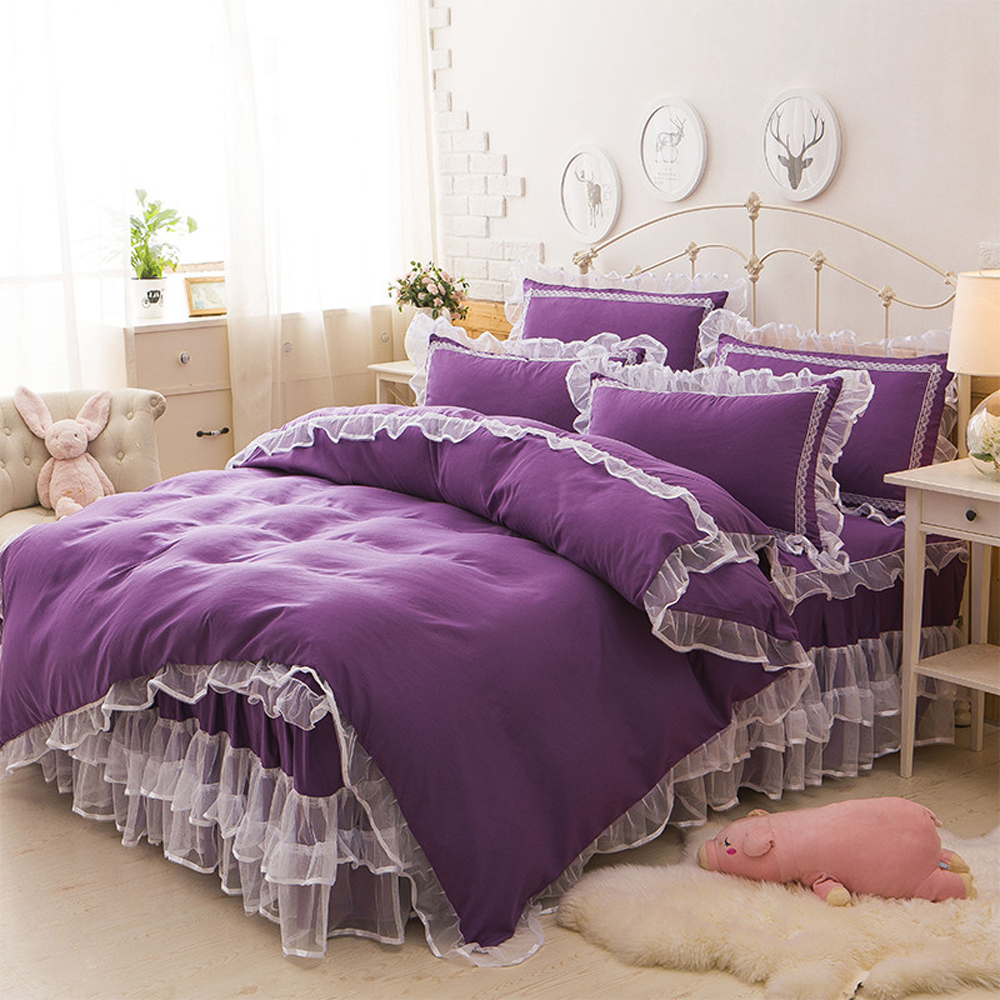 100%Cotton Blue/Pink/Purple/Red Duvet Cover Bed Sheet Set White Lace Edge Korean Princess Style Solid Color Design Bedding Set
