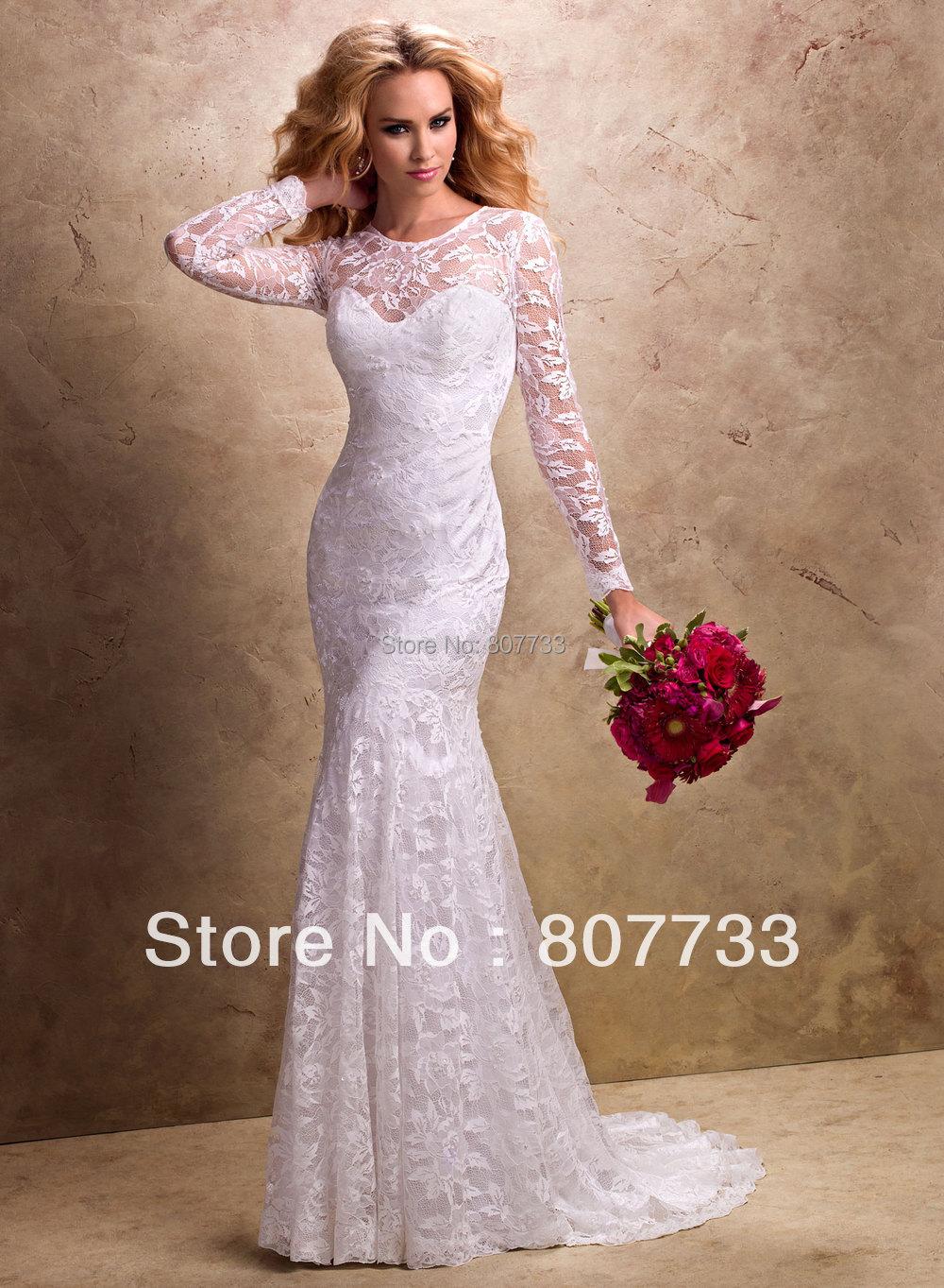 TT85 long sleeve sexy Mermaid wedding dress 2014-in Wedding ...
