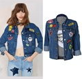 Super! Fashion Patches Boyfriend Jacket Women Denim Jackets Jean Coats Manteau Femme Veste Femme Manche Longue