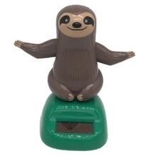 Cute Solar Powered Gralara Bobbling Toy Shaking Hand Sloth Home/Office/Car Ornament цена 2017
