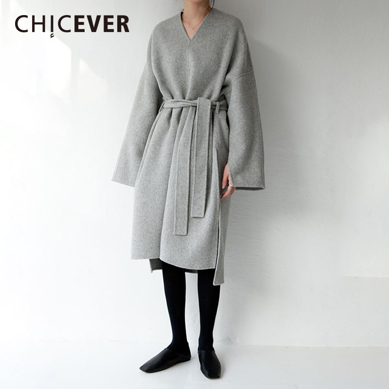 CHICEVER Spring Vintage Side Split Women Dress Long Sleeve Loose Big Size Pullovers Asymmetrical Dresses Female Clothes Casual
