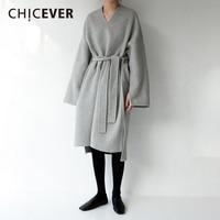 CHICEVER Spring Vintage Side Split Women Dress Long Sleeve Loose Big Size Pullovers Asymmetrical Dresses Female