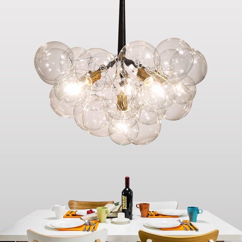 Современный подвесной светильник с шариковой лампой, стеклянный медальон, подвесной светильник для гостиной, кухни, домашнего освещения, б