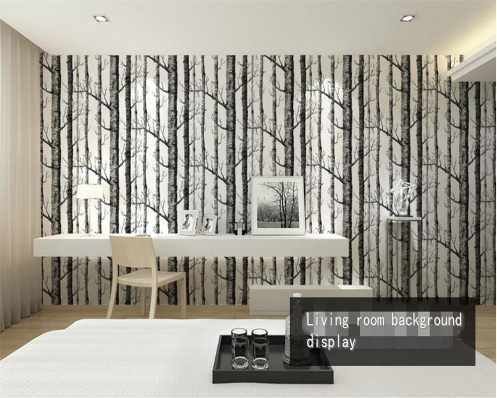 Beibehang Abstract black and white branches wallpaper trunk tree branches birch forest living room TV 3d wallpaper for walls 3 d in Wallpapers from Home Improvement