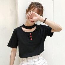 Top épaules 2016 rock coréen drôle t shirts d été mignon femmes tops  harajuku kawaii amour boutons Ras Du Cou t-shirt femmes 0783de5b624