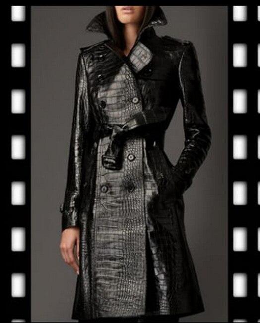 Free shipping ! NEW women's fashion Alligator same paragraph style long coat Slim windbreaker / S-XL