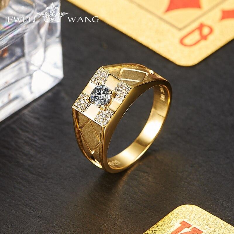JewellWang Moissanite Engagemet Rings for Men Poker 0.3CT Certified DE Color VVS1 18K Yellow Gold Wedding Ring