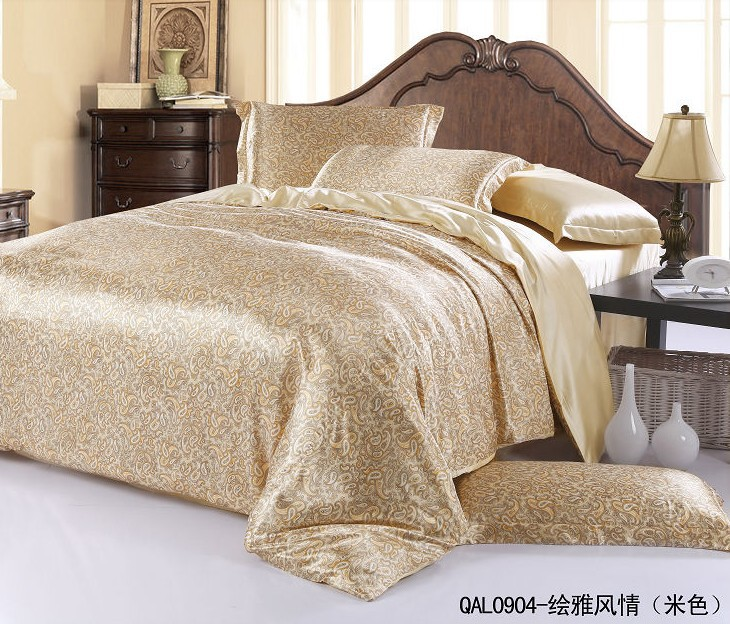 silk comforter sets silk sheets bedding set luxury beige paisley king 2220