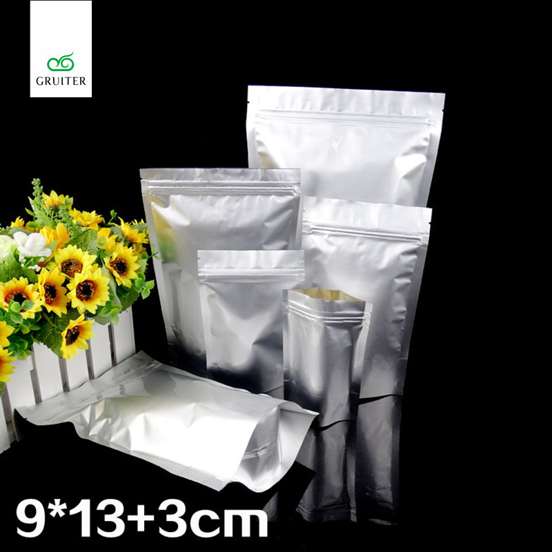 100pcs Silver Metallic Foil Durable Bag Reclosable Stand Up Packaging Pouch Aluminum Zip Lock Gusset Bags 9x13cm(3.5x5in)