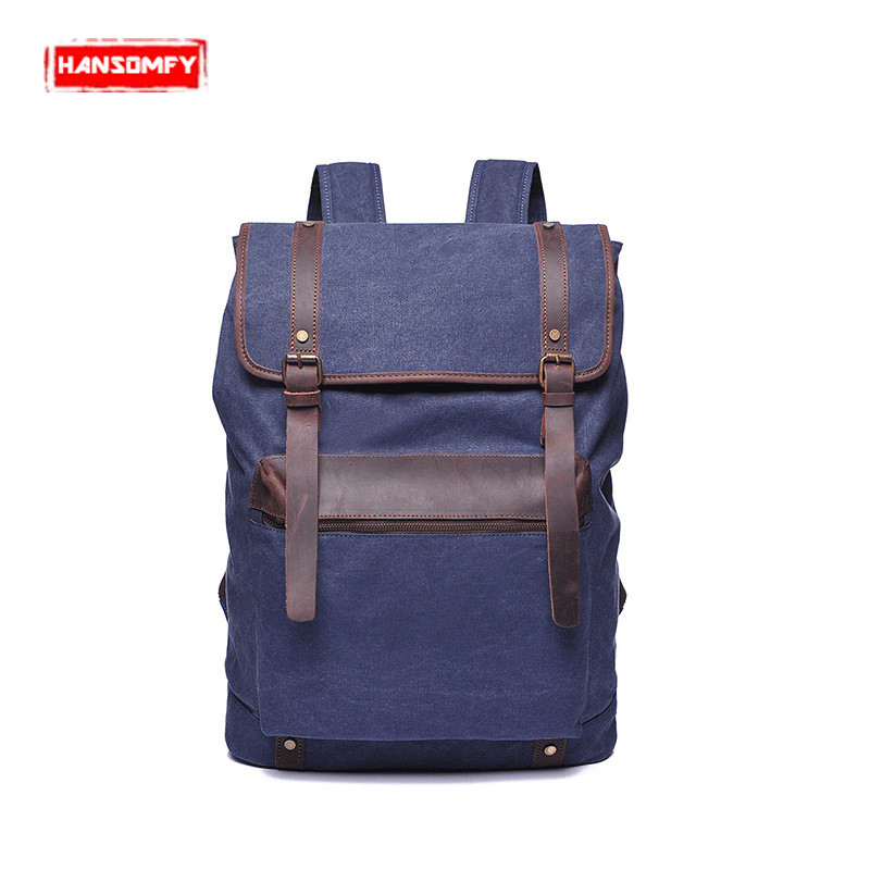 New Retro Men bag canvas shoulder bag with the first layer of leather men 's backpack quality section travel school backpacks все цены