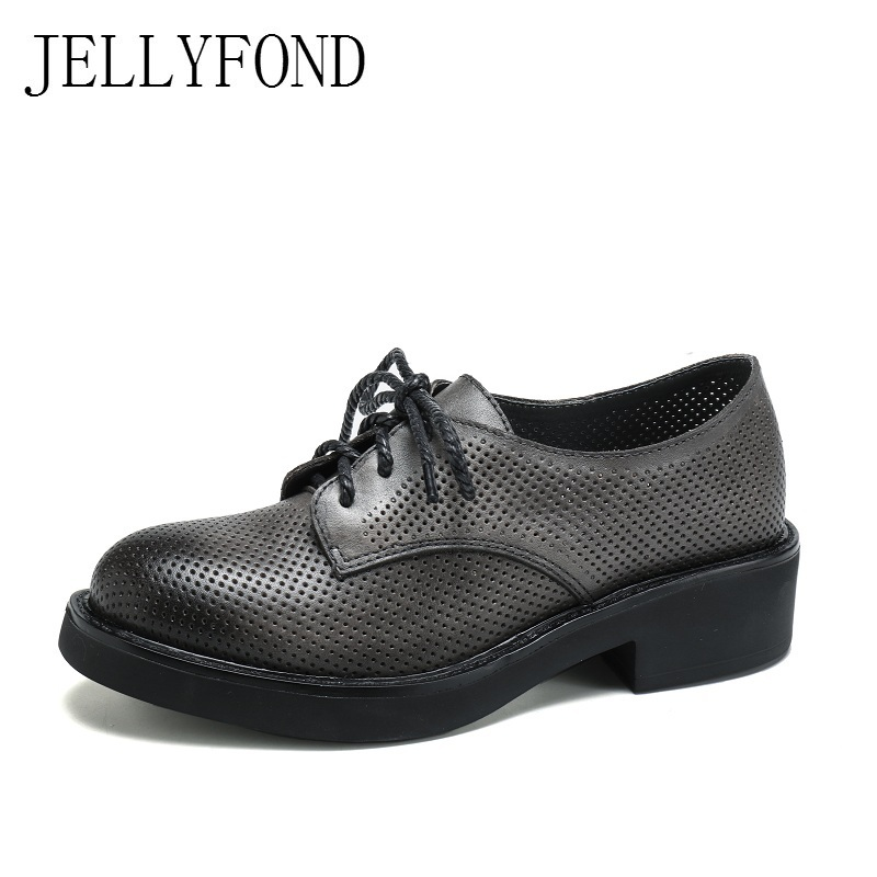 British Style Genuine Leather Handmade Shoes Woman 2018 Designer Cowhide Lace Up Cuts Out Brogue Shoes Big Size EU35-40 mnixuan british style woman shoes 2018