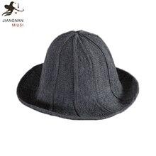 JNMS New Knitting Bucket Hat Women Retro Casual Winter Fishing Hat Foldable  Wool Girl Hat( 93559b36345b