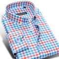 2016 otoño nueva Casual hombres Plaid camisas de manga larga Slim Fit moda 100% algodón de alta calidad de lujo clásico Mens camisas de vestido