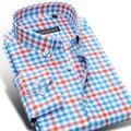 2016 outono nova Casual homens camisas xadrez manga comprida Slim Fit moda 100% algodão de alta qualidade luxo clássico Mens camisas de vestido