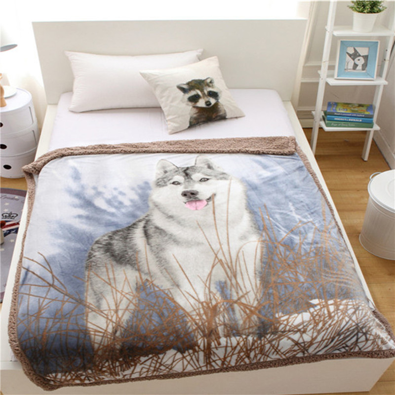 Double Layer Blanket Thick Flannel and Wool Faux Fur tv Sofa Gift Design Animal Wolf Bear Fox Soft Blanket 130x160cm
