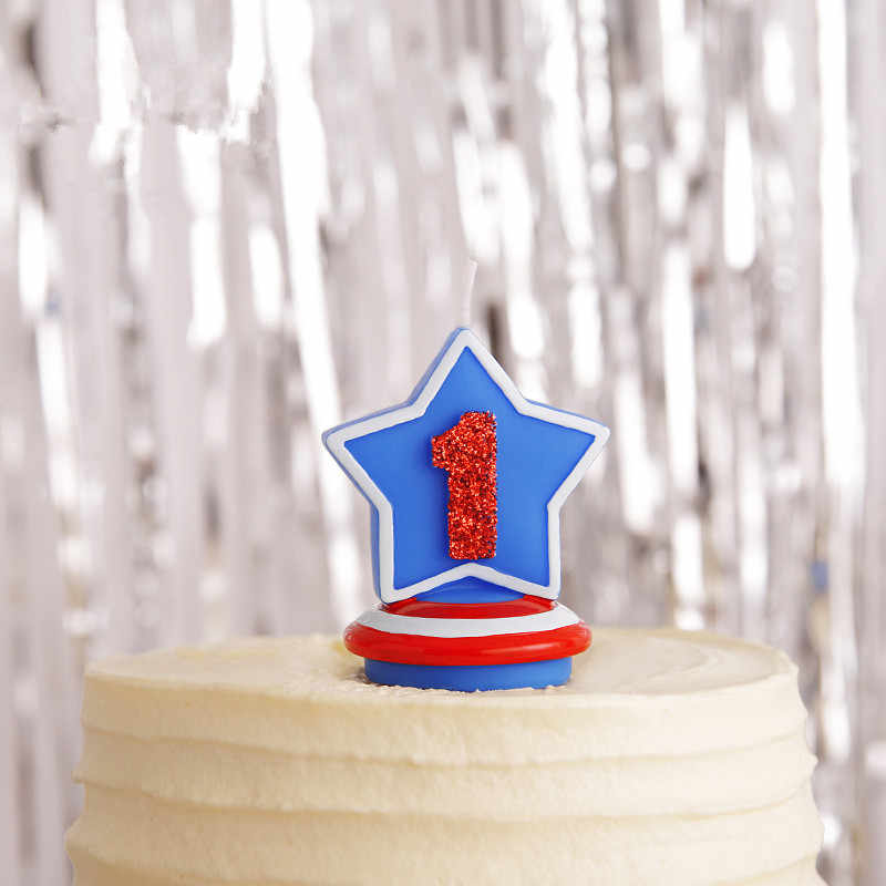 Birthday Figure Number Star Candle Captain America Blue Shield Candle Boy Baby Kid Child Birthday Candle Cake Home Decor