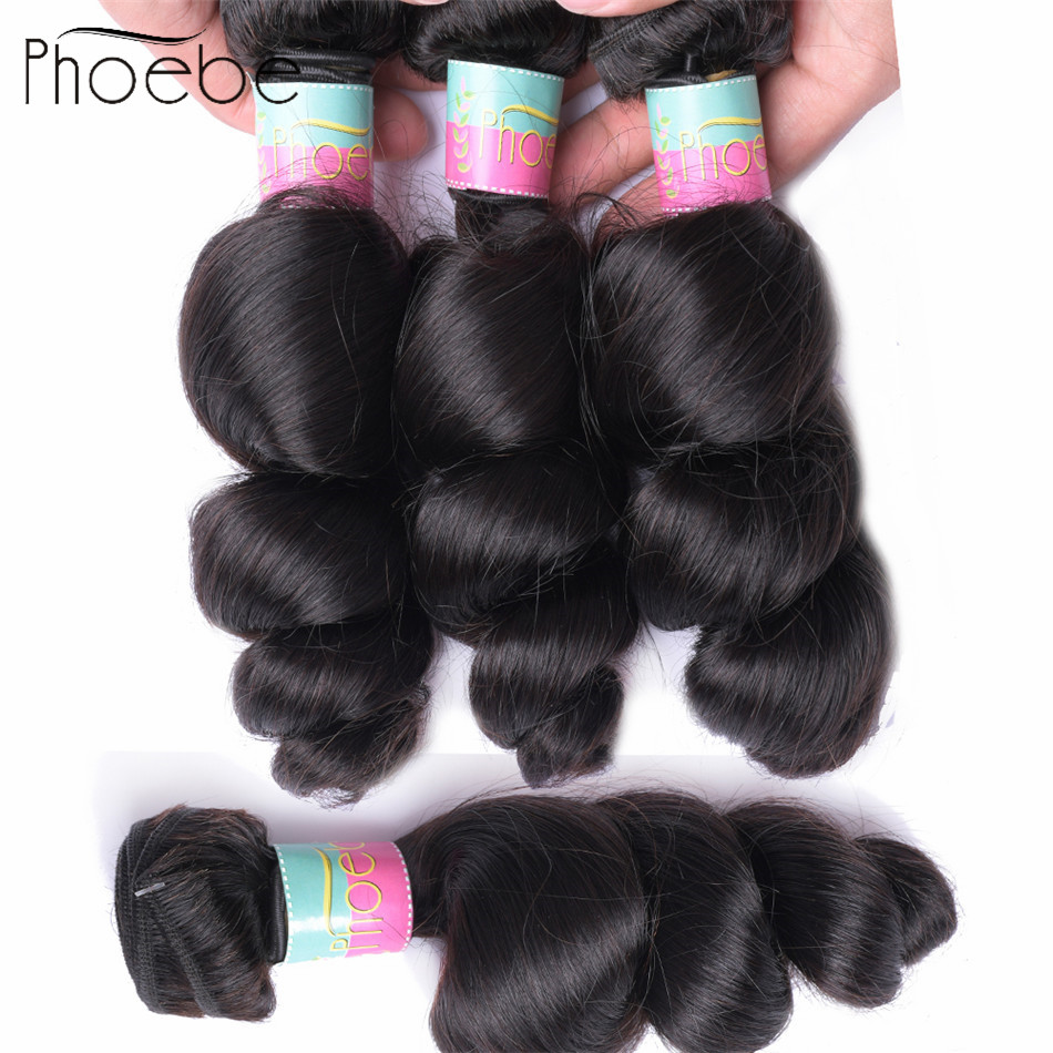 Phoebe Hair  Pre-colored Malaysian Bundles Loose Wave 100% Human Hair Extensions  Non Remy Hair Buy 3 or 4 Bundles Natural Color