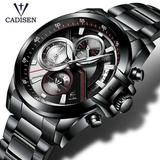 CADISEN Men's Luxury Stainless Steel Waterproof Quartz Watches